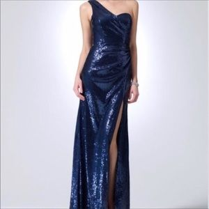 One Shoulder Gown Dress In midnight blue by Caché